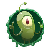 Round frame, funny green microbe showing thumbs up
