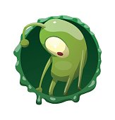 Round frame, funny green microbe standing sad