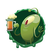 Round frame, funny green microbe with a mug of beer