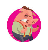Round frame, funny pink male pig-bully