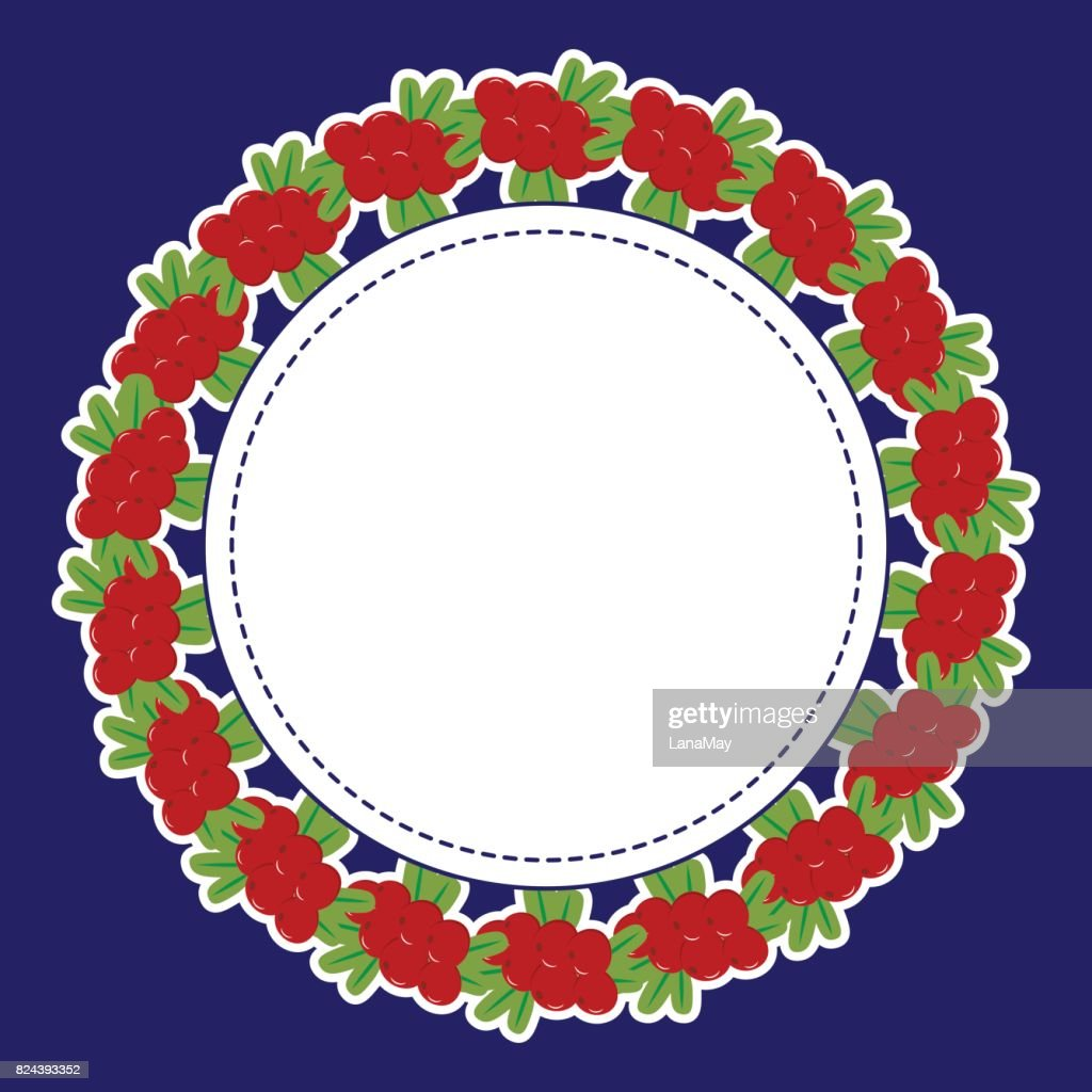 Round frame of berries in a white outline on a dark background.