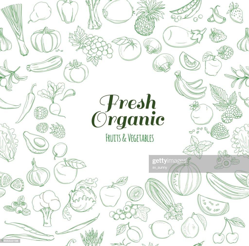 Runde Rahmen Muster Der Biobauernhof Frisches Obst Und Gemüse ...