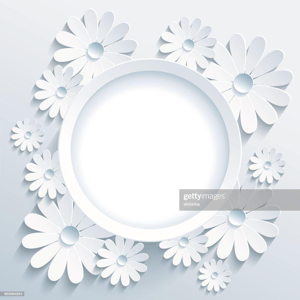 Runde Rahmen Mit 3d Weißen Kamille Grußkarte Vektorgrafik | Getty Images