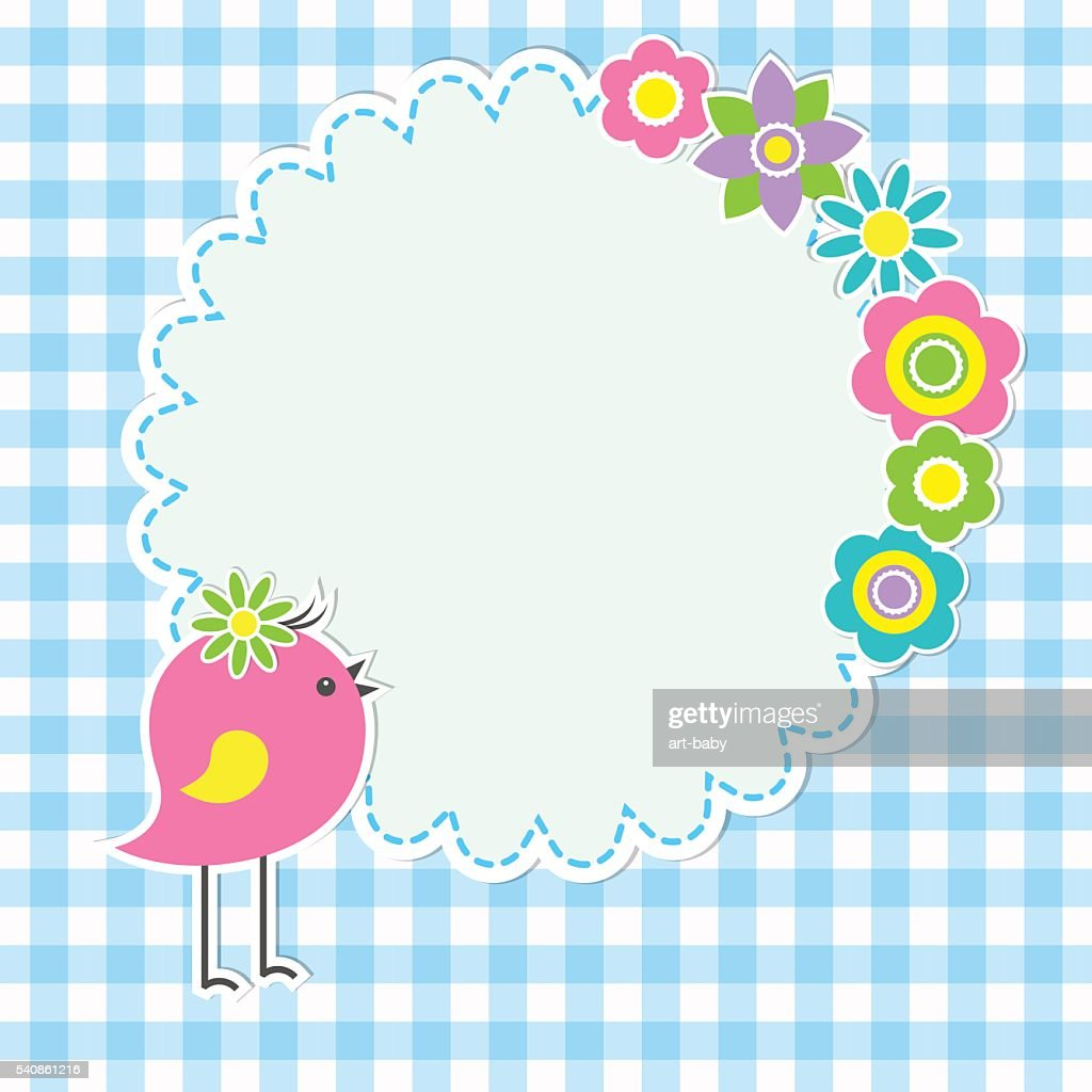 Round frame with cute bird and flowers