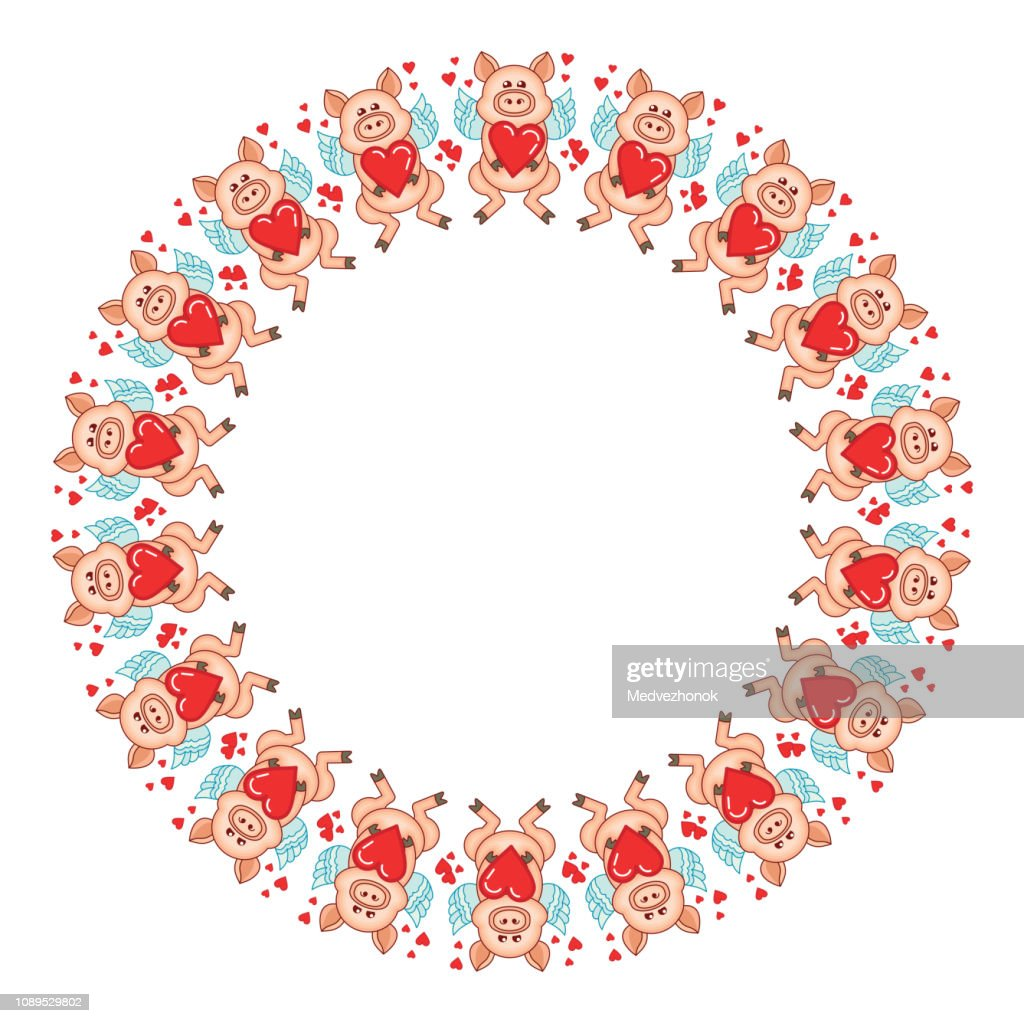 Round frame with cute cartoon Cupid pigs