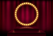 Round frame with glowing shiny light bulbs, vector illustration. Shining party banner on red curtain background and stage podium. Signboard with lamps border for lottery, casino, poker, roulette