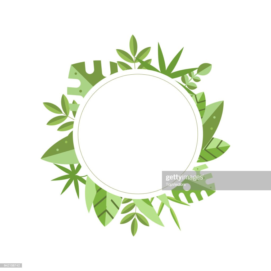 Round frame with green tropical leaves on background. Botanical theme. Flat vector for invitation card, interior decor or save the date