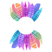 Round frame with multicolored boho feathers of birds with decoration and place for the text separated on white background. Vector template
