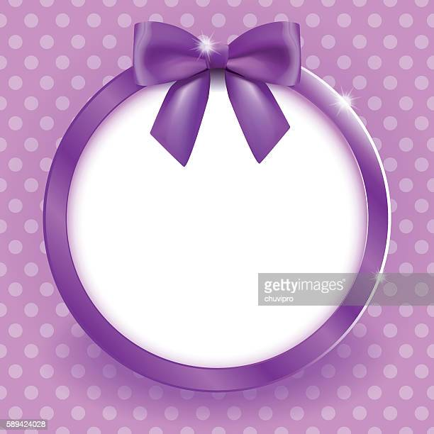 round frame with satin bow in magenta colors - hair bow stock illustrations