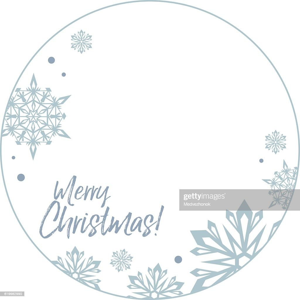 Round frame with snowflakes and greeting text:'Merry Christmas!'.