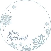 "Round frame with snowflakes and greeting text:""Merry Christmas!""."