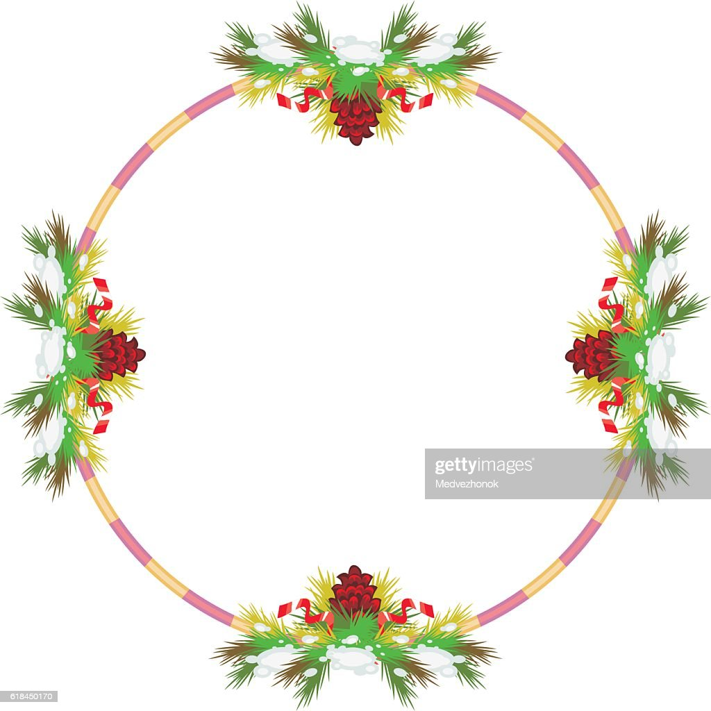 Round frame with snow-flakes and pine branch.