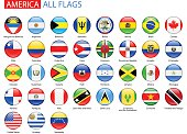 Round Glossy Flags of America - Full Vector Collection