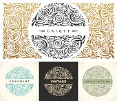 Round gold calligraphic royal emblem set. Vector floral symbol for cafe, restaurant, shop, print, stamp