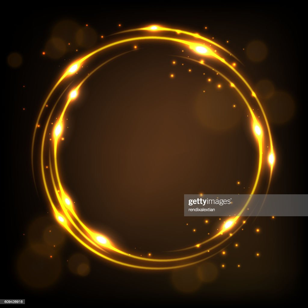 Round gold shiny with sparks background