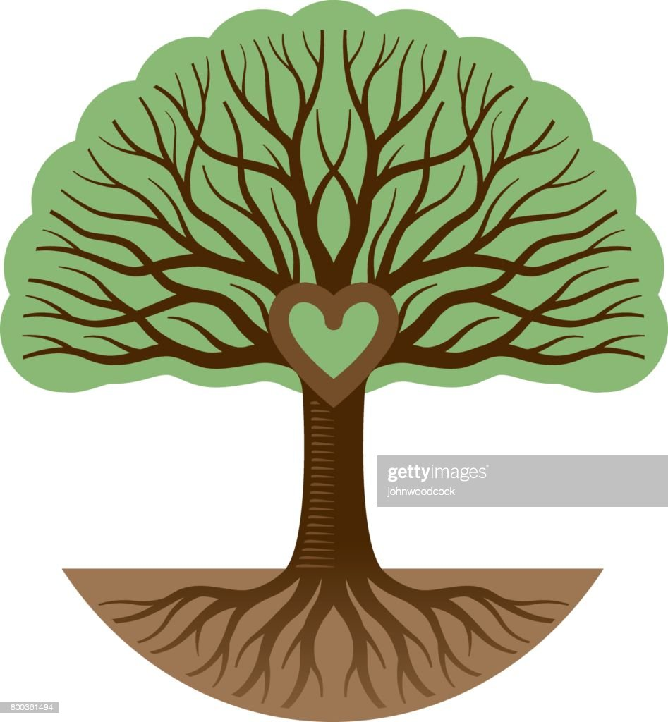 Round graphic tree and heart illustration