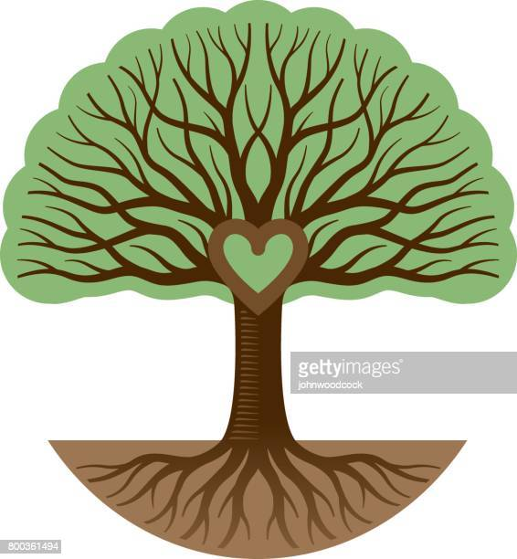 round graphic tree and heart illustration - tree trunk stock illustrations, clip art, cartoons, & icons
