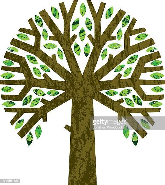 round graphic tree symbol - tree bark stock illustrations, clip art, cartoons, & icons