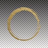 Round grunge golden frame on checkered background