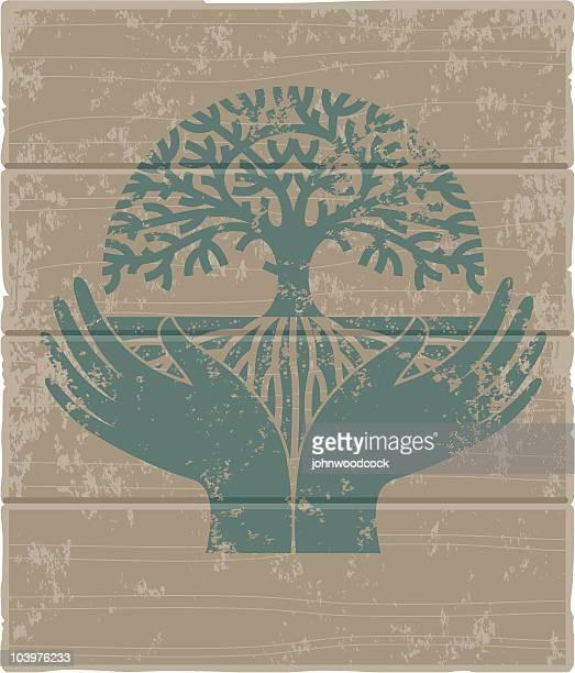Round hands tree sign