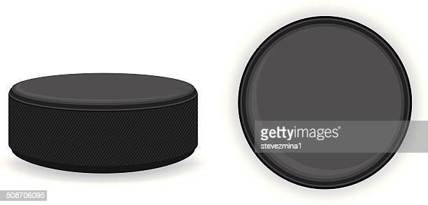 a round hockey puck against a white background - puck stock illustrations