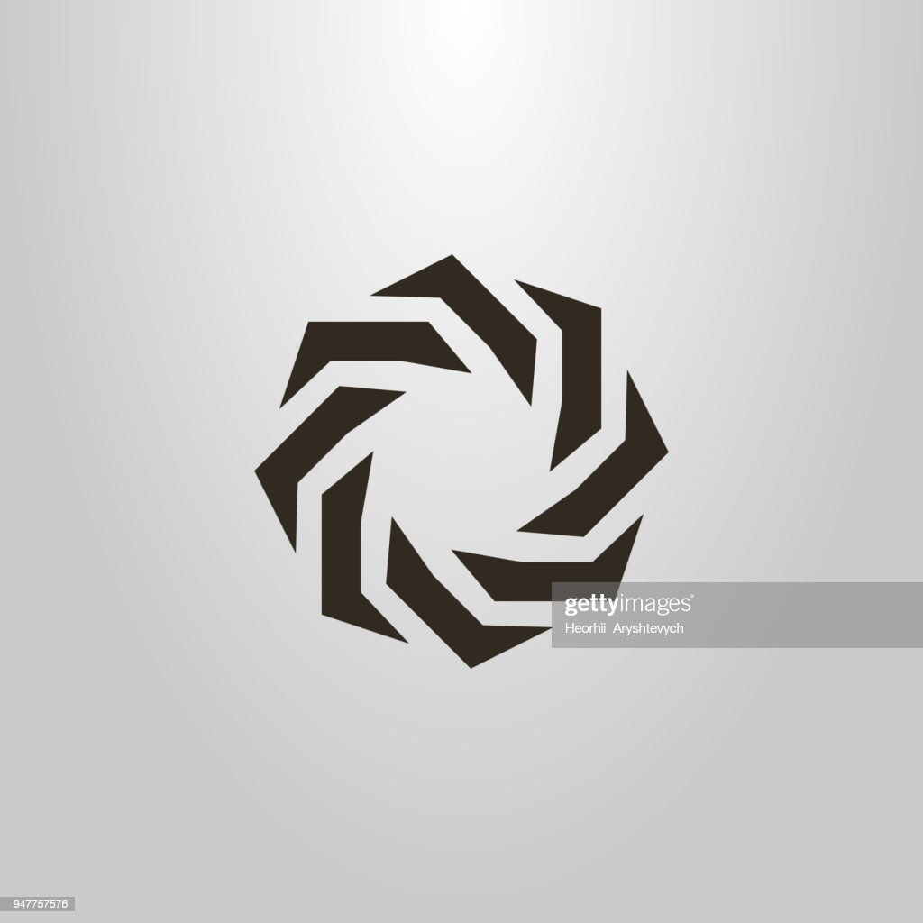 round icon. abstract figure. monochrome emblem
