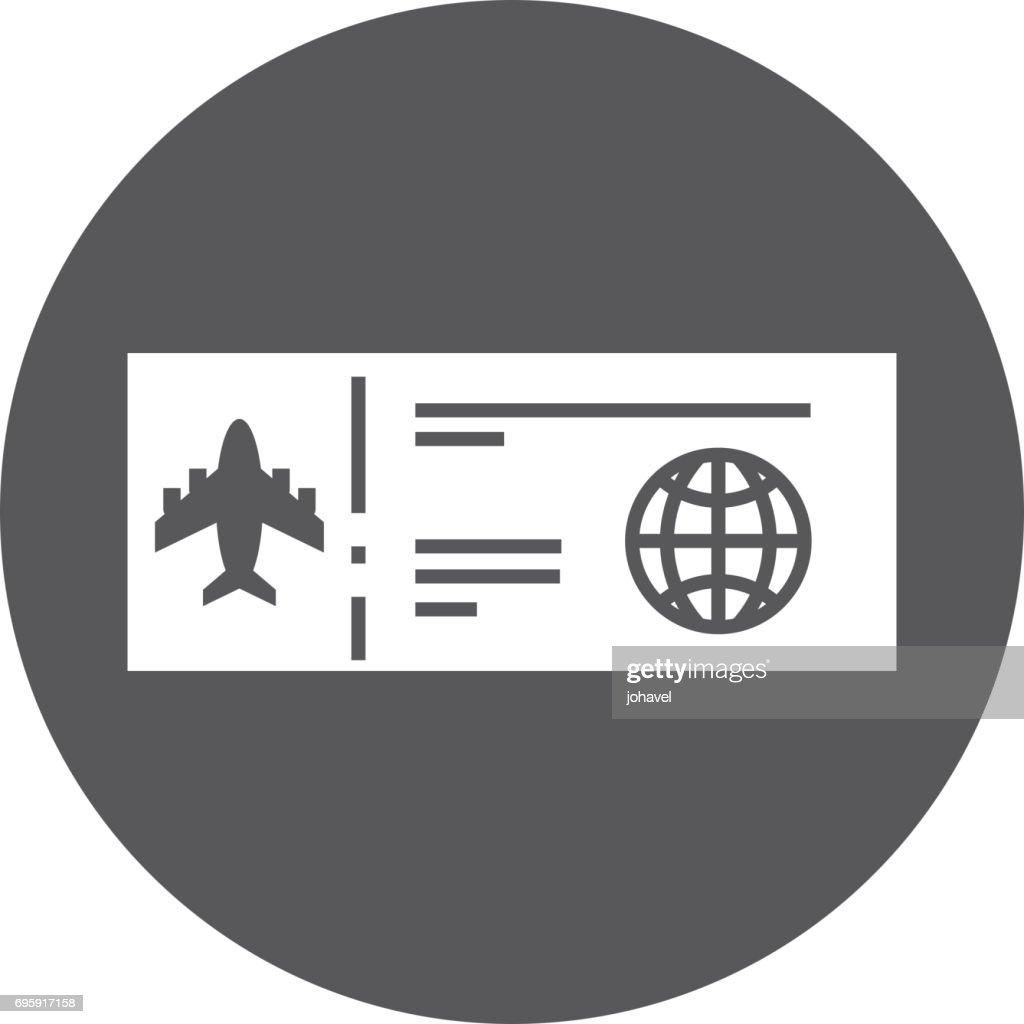 round icon airplane ticket cartoon