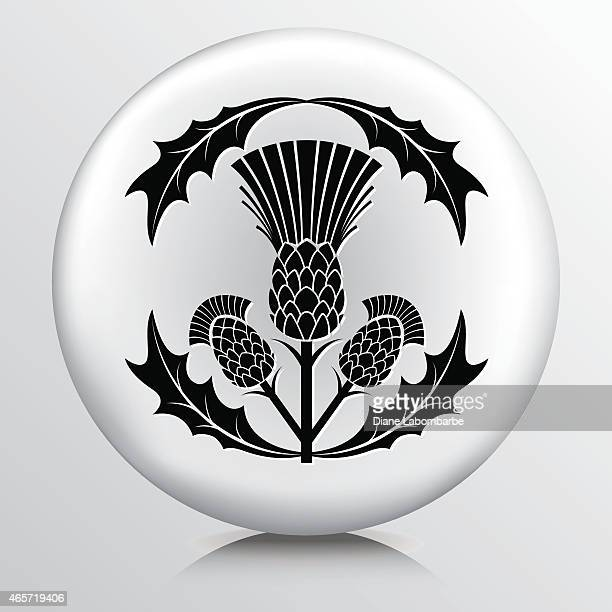 round icon with  black thistle and leaves - thistle stock illustrations, clip art, cartoons, & icons