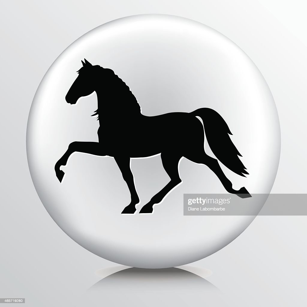 Round Icon with Black Trotting Horse Silhouette