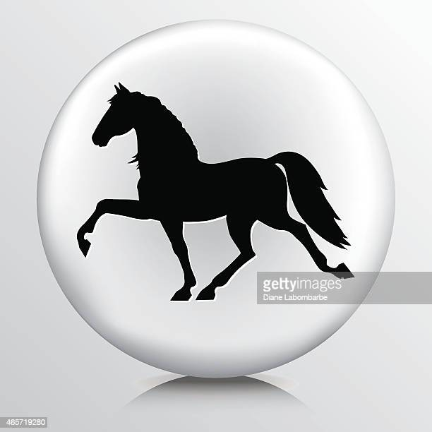 round icon with black trotting horse silhouette - horse family stock illustrations, clip art, cartoons, & icons