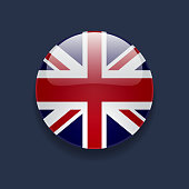 Round icon with flag of the UK