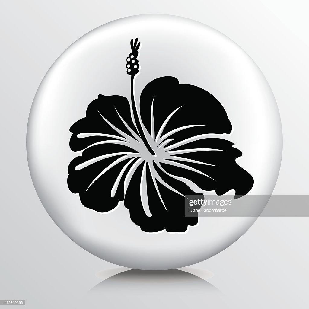 Round icon with hibiscus flower black silhouette vector art getty round icon with hibiscus flower black silhouette vector art izmirmasajfo
