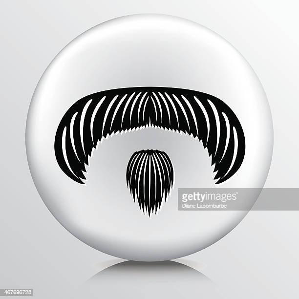 Round Icon With Large Moustache Small Goatee Black Silhouette