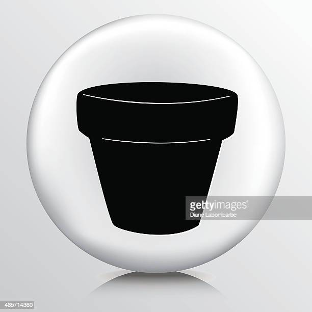 round icon with  terra cotta flower pot black silhouette - pottery stock illustrations, clip art, cartoons, & icons