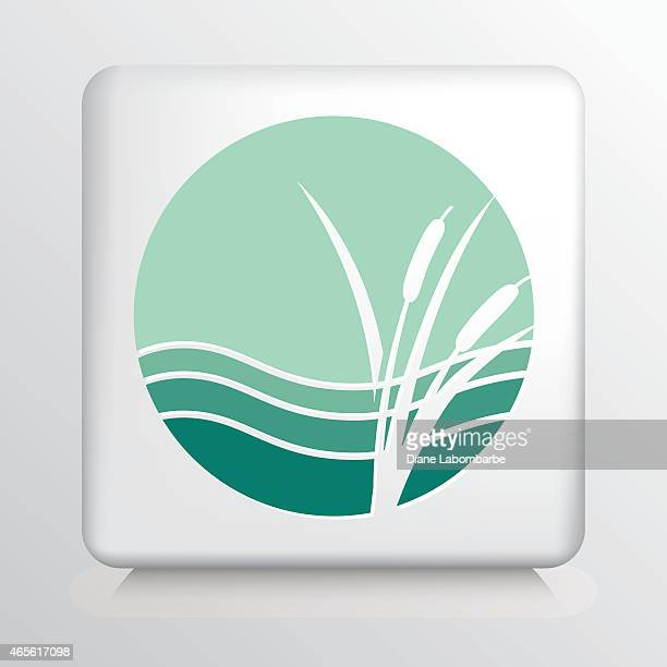 Round Icon with White Cattails and Waves Silhouette on Green