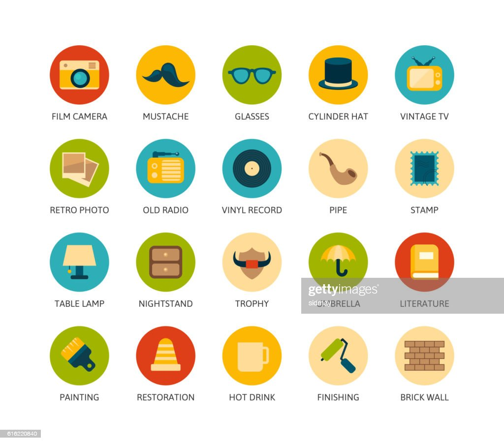Round icons thin flat design, modern line stroke style : Arte vettoriale