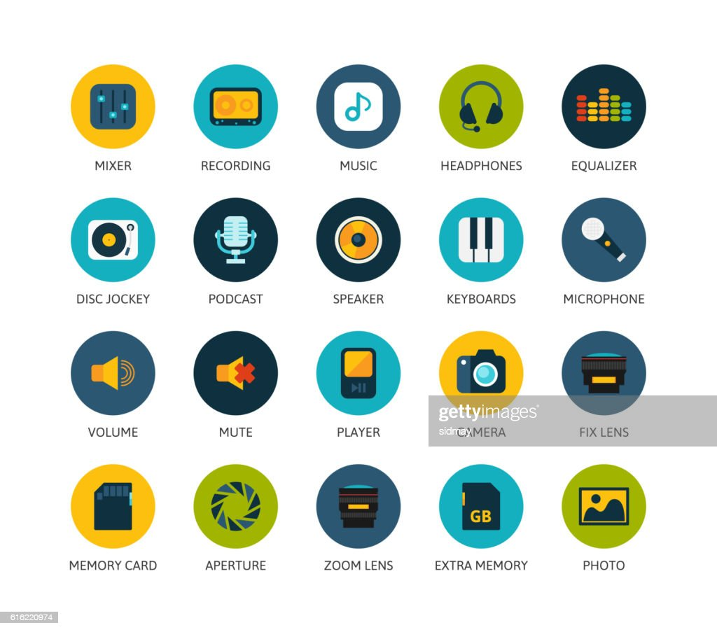 Round icons thin flat design, modern line stroke style : Clipart vectoriel