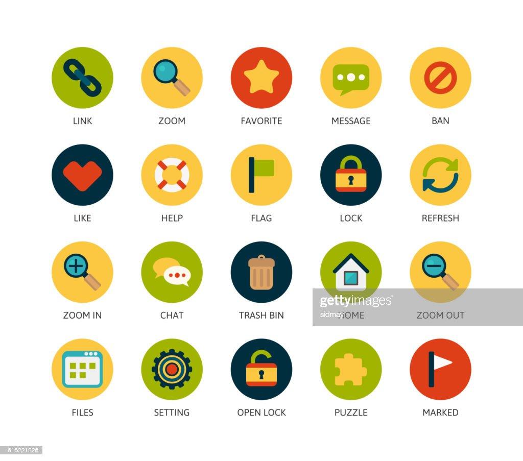 Round icons thin flat design, modern line stroke style : Vectorkunst
