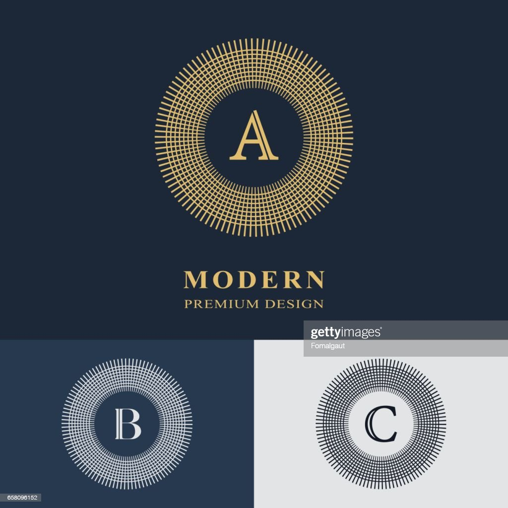 Round Line graphics monogram. Elegant art logo design. Emblem. Graceful template. Letter A, B, C. Business sign, identity for Restaurant, Royalty, Boutique, Cafe, Hotel, Heraldic, Jewelry, Fashion. Vector Illustration