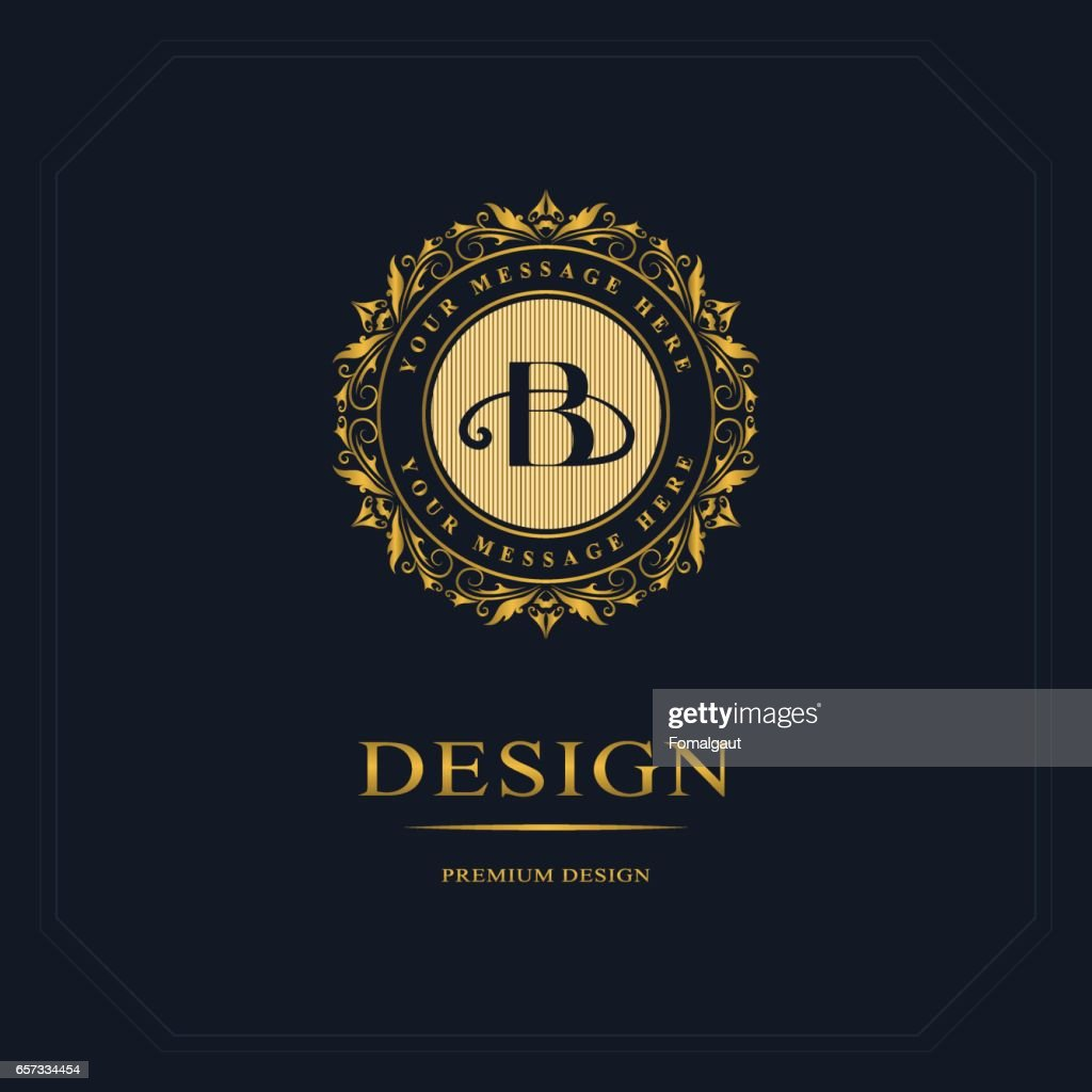 Round Line graphics monogram. Golden medallion. Elegant art logo design. Emblem. Graceful template. Letter B. Business sign, identity for Restaurant, Royalty, Boutique, Cafe, Hotel, Heraldic, Jewelry, Fashion. Vector Illustration