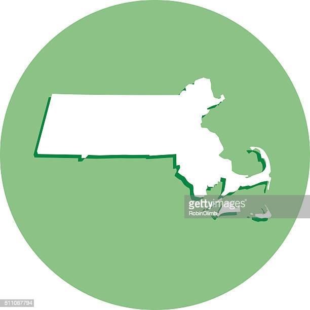 Round Massachusetts Map Icon