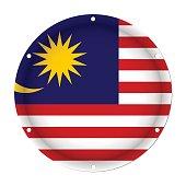 round metallic flag of Malaysia with screw holes