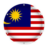 round metallic flag of Malaysia with screws