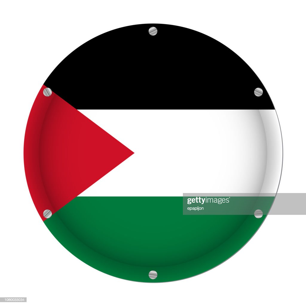 round metallic flag of Palestine with screws