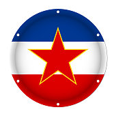 round metallic flag of Yugoslavia with screw holes