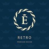 Round Monogram design elements, graceful template. Elegant line  design. Letter emblem E. Retro Vintage Insignia. Business sign, identity, label, badge, Cafe, Hotel. Vector illustration