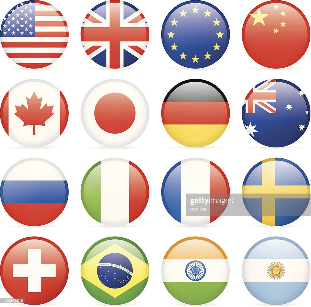 Round most popular flag icons