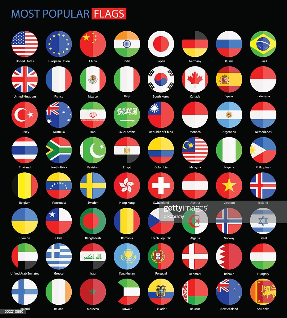 Round Most Popular Flags on Black Background - Vector Collection