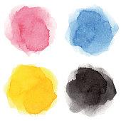 Round multicolored watercolor spots
