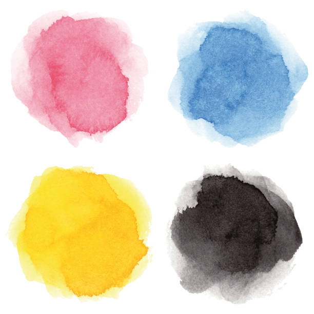 round multicolored watercolor spots - pink stock illustrations